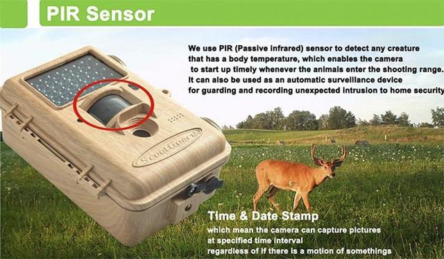 Фотоловушка оснащена PIR датчиком, срабатывающим на движение в радиусе до 25 метров