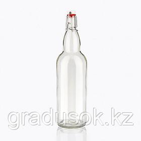 Бутылка стеклянная прозрачная с бугельной пробкой 1 л