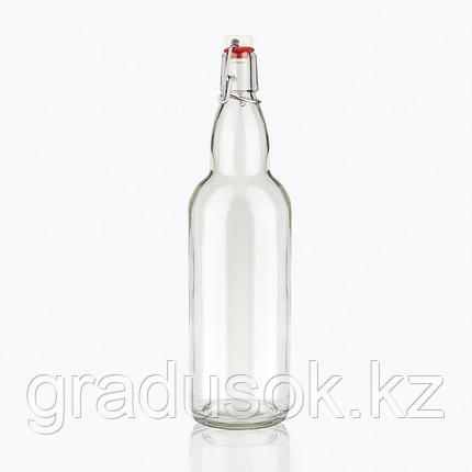 Бутылка стеклянная прозрачная с бугельной пробкой 1 л, фото 2