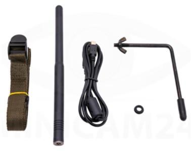 Элементы, входящие в комплект поставки: ремень для крепления, внешняя антенна, USB-кабель, запасное уплотнительное кольцо и держатель