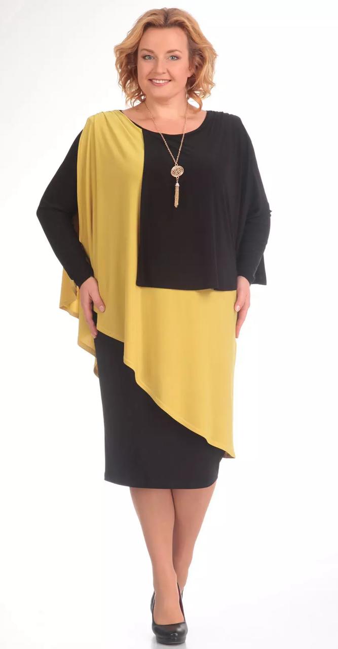 Платье Pretty-36/1, черно-желтый, 54