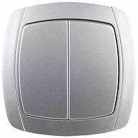 """Выключатель СВЕТОЗАР """"АКЦЕНТ"""" двухклавишный в сборе, цвет серебристый металлик, 10А/~250В"""