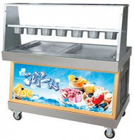 Фризер для жареного мороженого Foodatlas KCB-2F (контейнеры, стол для топпингов, 2 компрессора)
