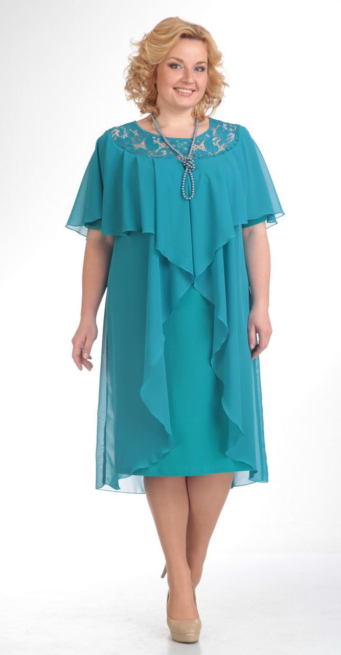 Платье Pretty-168/1, бирюза, 56