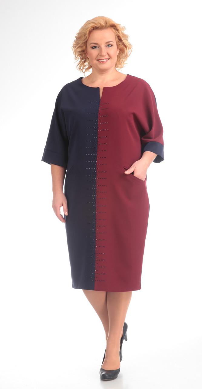 Платье Pretty-502, бордо+синий, 56