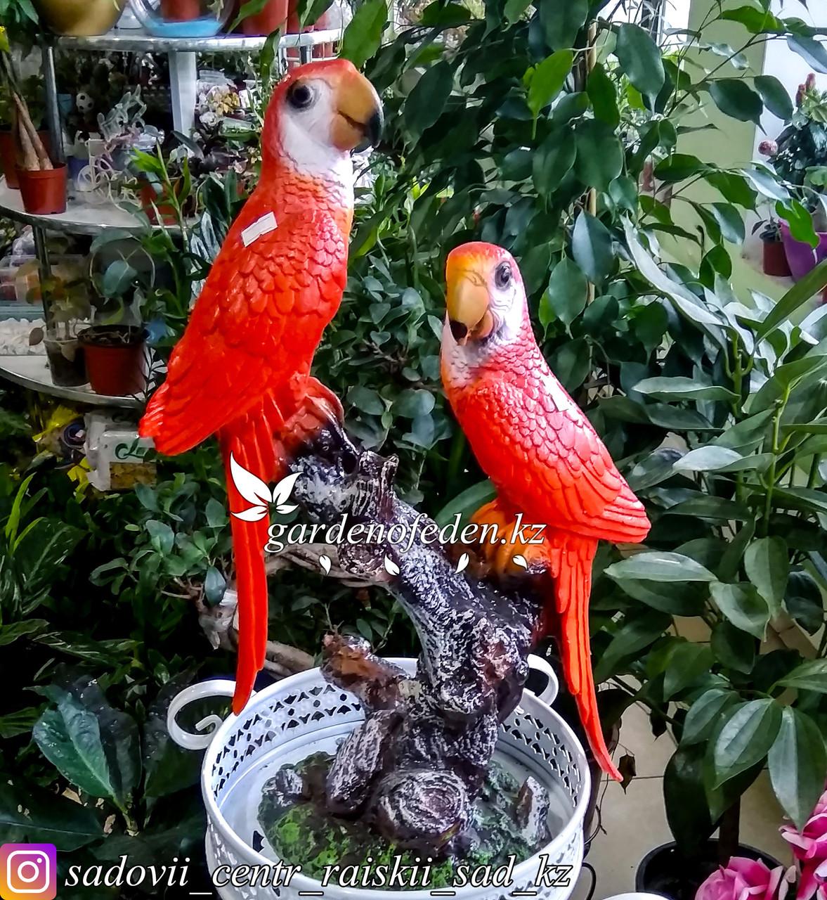 """Садовая фигура """"Попугаи"""", высота: см. Материал: Полистоун."""