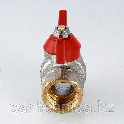 Кран шаровой латунь Ду 25 Ру40 внутренняя/внутренняя резьба бабочка полнопроходной никель Aquasfera, фото 2