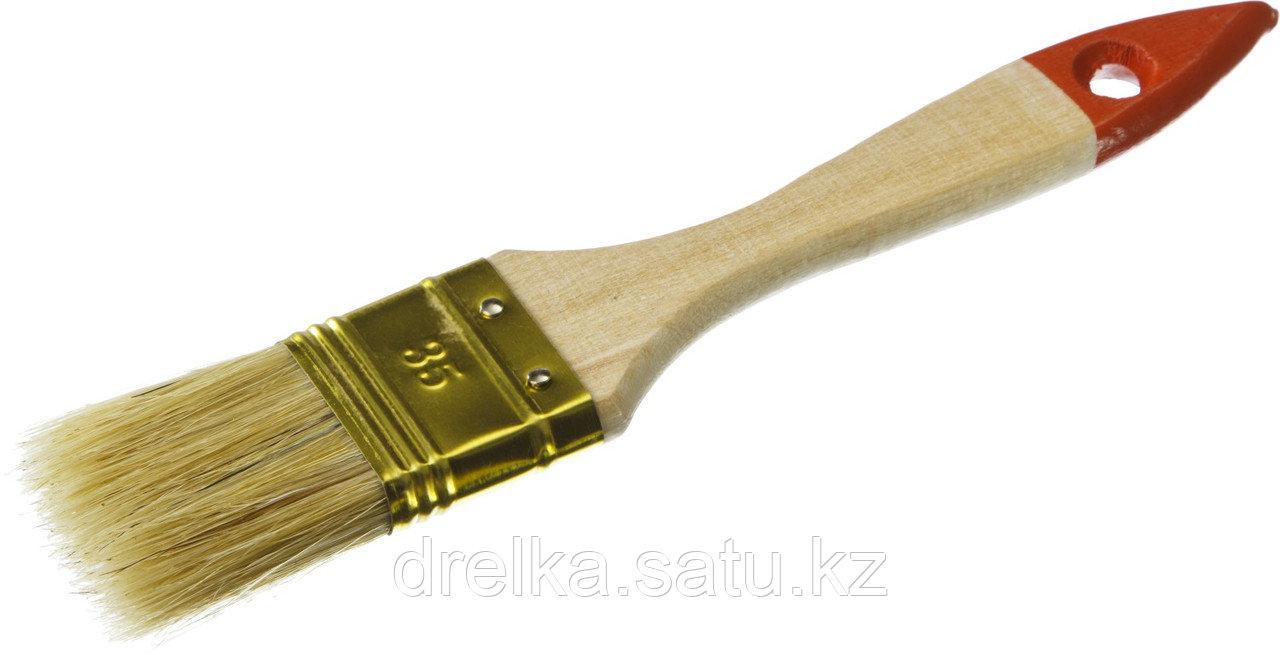 """Кисти плоские ЗУБР """"УНИВЕРСАЛ-ОПТИМА"""", светлая щетина, деревянная ручка"""