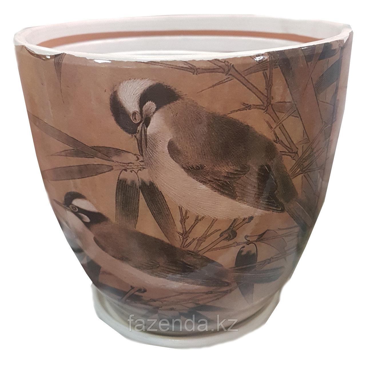 Горшок для цветов керамический Птицы 15х13 см