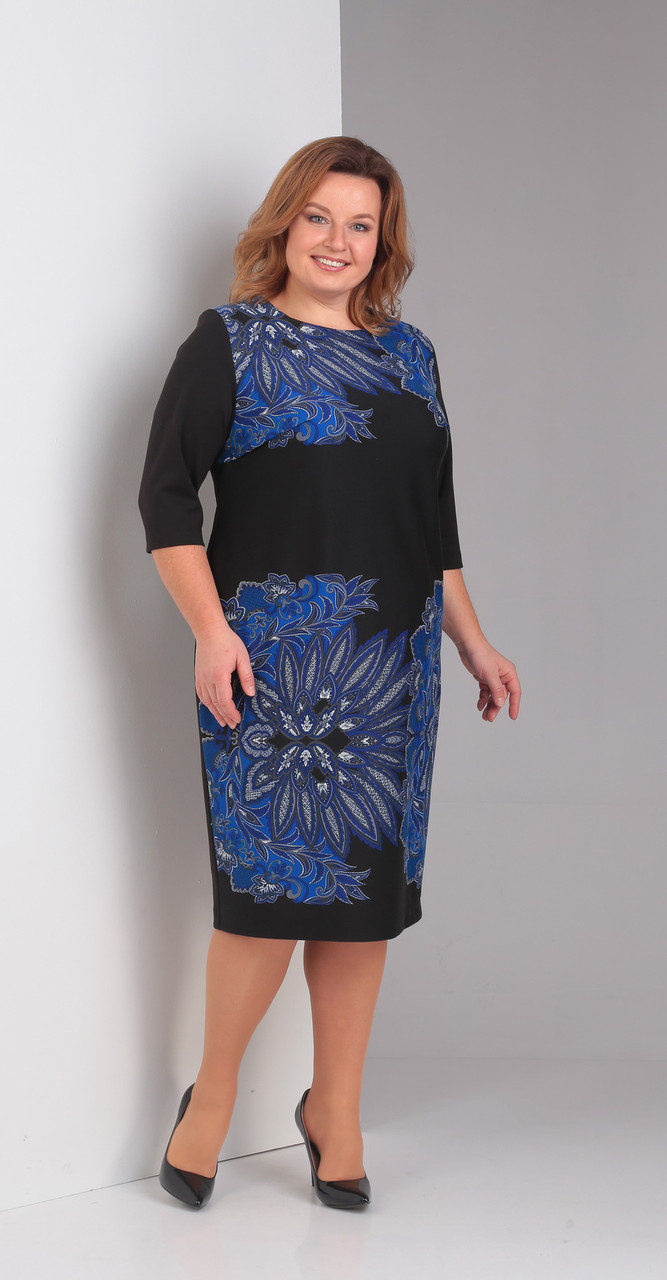 Платье Диамант-1395, синий с черным, 56