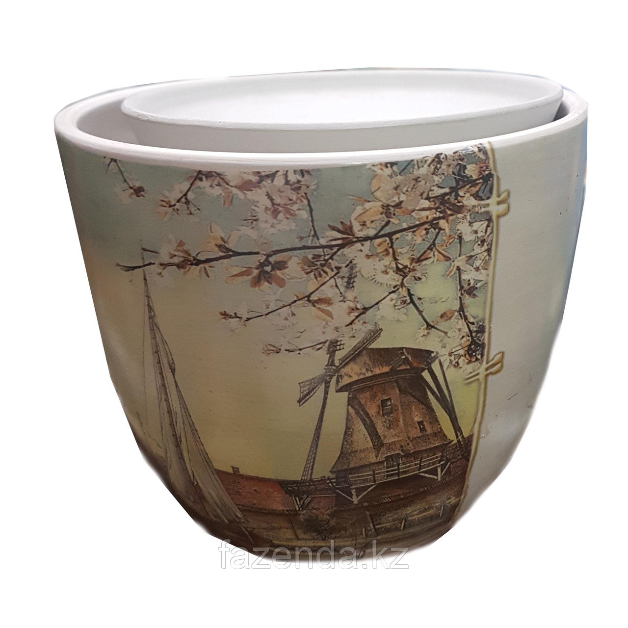 Горшок для цветов керамический Мельница