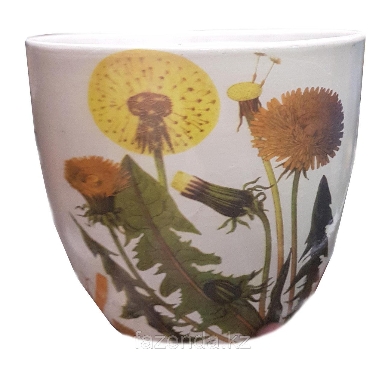 Горшок для цветов керамический Одуванчик 15х13 см