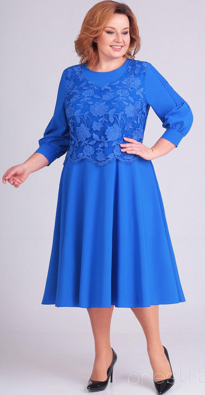 Платье Асолия-2383/1, василек, 56