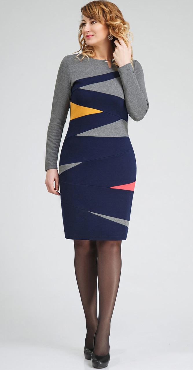 Платье Swallow-в1703, синий с серым, 48