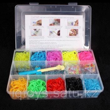 Набор для плетения резиночек 10 цв. по 300 резинок (3000 шт) + подарок дорожный набор (мет. крючок со станком)