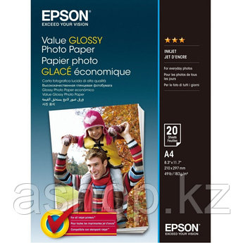 Фотобумага Epson Value Glossy Photo Paper, 10 x 15, односторонняя, глянцевая, 183 г/м ², Упаковка: 20 листов,