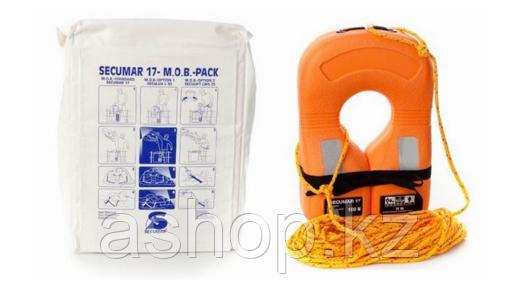 Спасательный хомут со страховочным тросом 30м Secumar 17 Mob-paket, Более 45 кг, Класс: EN396, Плавучесть: 150
