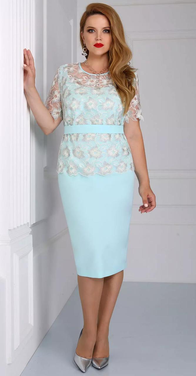 Платье Matini-31000/1, цветы на светлом, 52