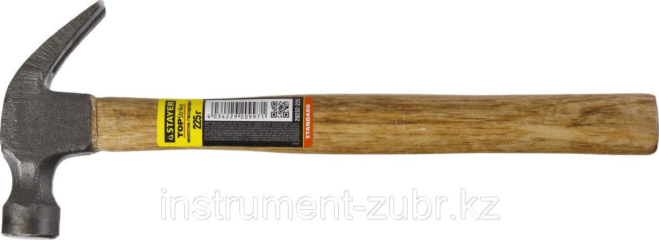 """Молоток-гвоздодер STAYER """"STANDARD"""" TopStrike с деревянной ручкой, 225г"""