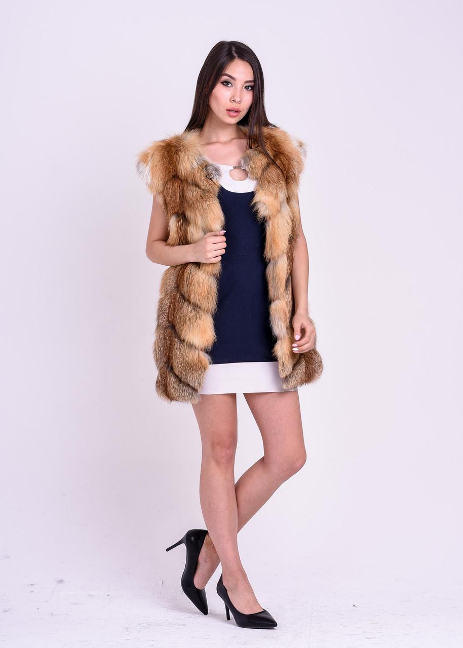 Женская меховая жилетка из рыжей лисы