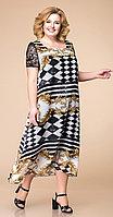 Платье Romanovich-1-1600, чёрно-белый с бежевым, 52