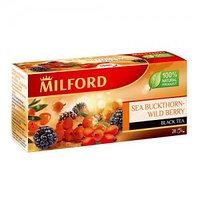 Milford черный чай Облепиха - Лесные ягоды, 20 пакетиков