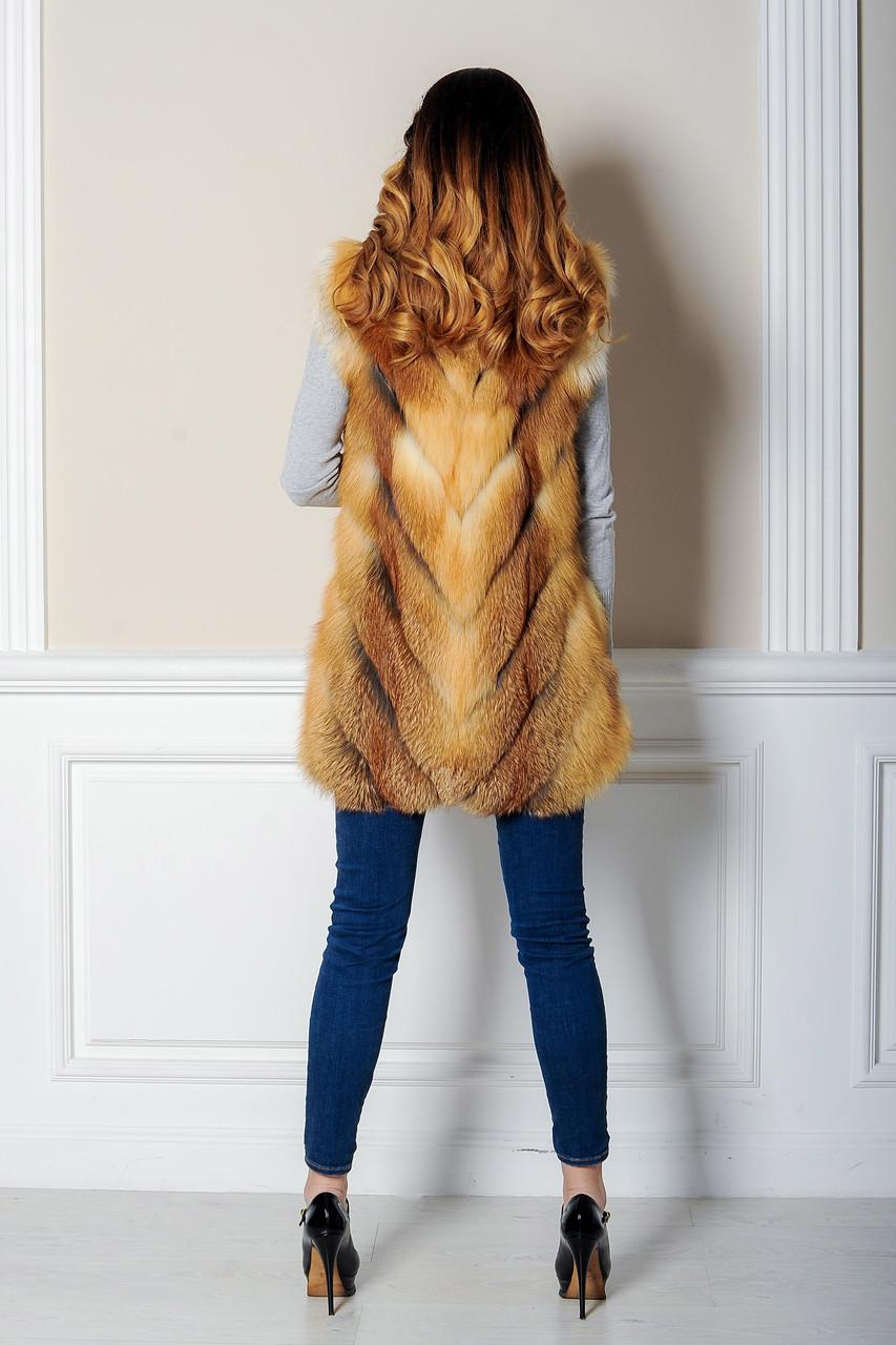 Стильная меховая жилетка из рыжей лисы - фото 4