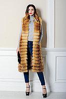 Длинный, метровый меховой жилет из рыжей лисы для Казахстанских модниц