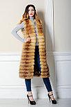 Длинный, метровый меховой жилет из рыжей лисы для Казахстанских модниц, фото 4
