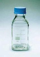 Бутыль стеклянная квадратная с завинчивающейся крышкой d-45 мм, со шкалой (1000 мл) (Pyrex)