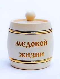 Бочонок с обручами под мед, объем 1,5 кг