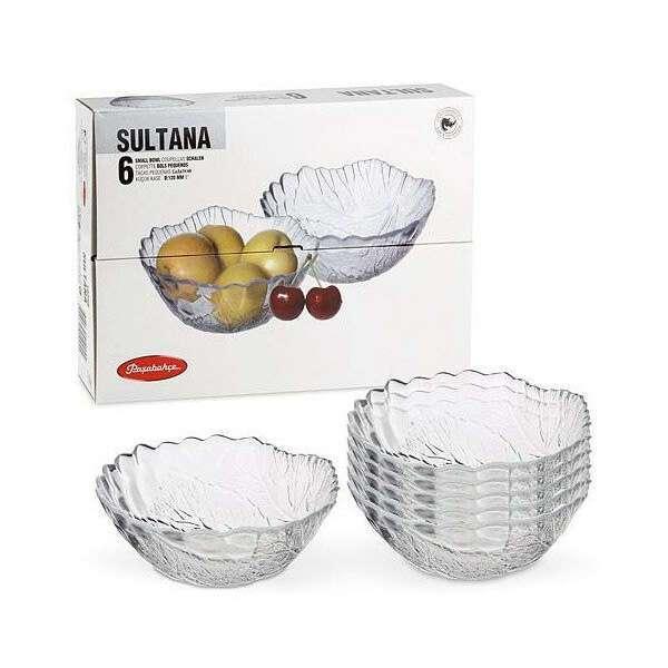 Салатник маленький стеклянный. Набор из 6 салатников Sultana 12 см Pasabahce 10286 код.
