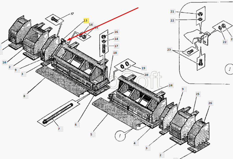 Каркас утюга левый ДС-126А.34.01.100