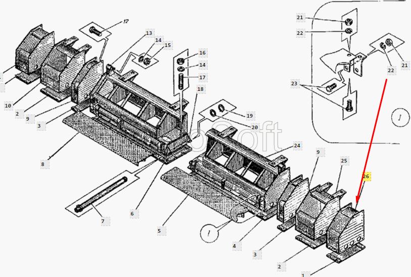 Каркас уширителя правый ДС-126А.34.01.330