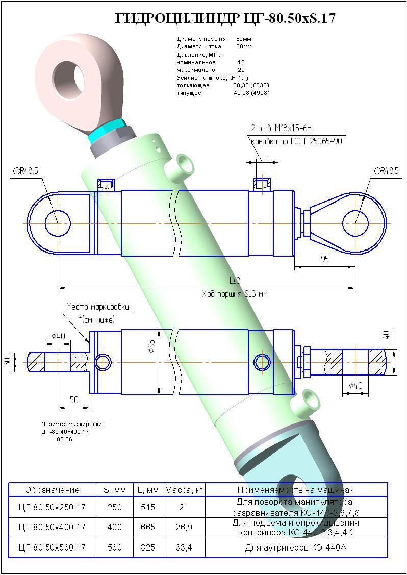 Гидроцилиндр поворота манипулятора разравнивателя ЦГ80.50х250.17