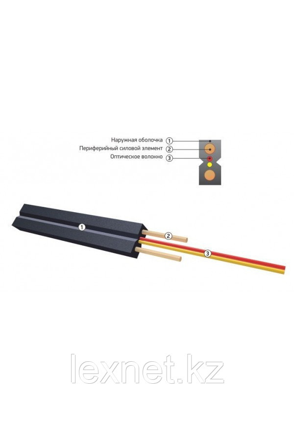 Кабель волоконно-оптический ОКНГ-Т-С2-1.0 (В/Т3) с тремя металлическими проволочками, плоский