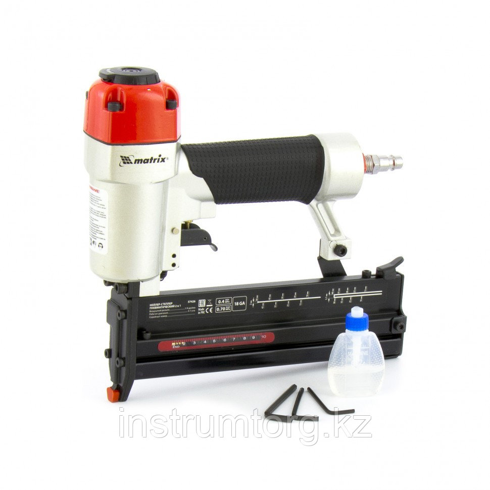 Нейлер-степлер пневматический 2 в 1, гвозди 18GA длина 10-50 мм, скобы 18GA длина 13-40// Matrix