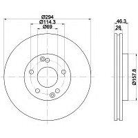 Тормозные диски Hyundai Santa Fe (01-06, передние, Optimal,D294), фото 1
