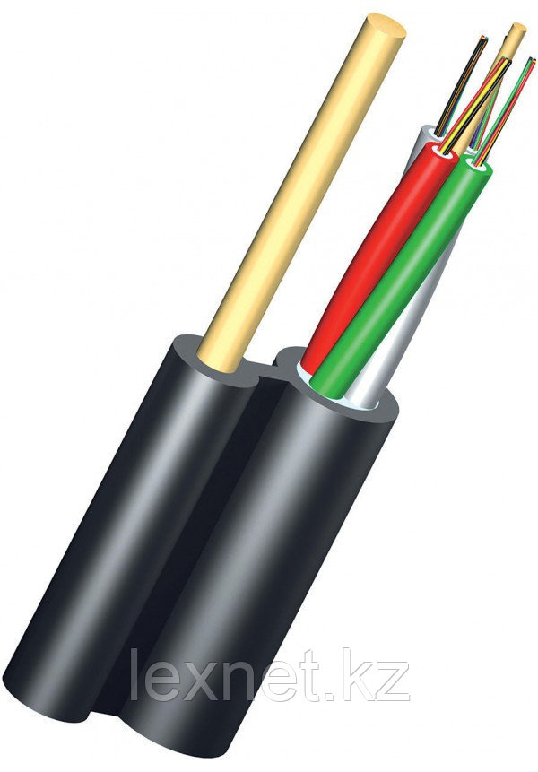 Кабель волоконно-оптический ОКНГ-Т8-С64-1.0 (ВП)  6 модулей по 8 волокон с двумя прутками в оболочке распредел