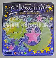 Фосфорные наклейки для детской комнаты (луна, солнце, звезды)