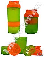 Шейкер 3 в 1 с дополнительными контейнерами (для спортивного питания) зелено-оранжевый
