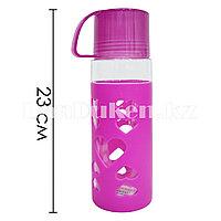 Пластиковая бутылочка для воды фиолетовая с сердечками
