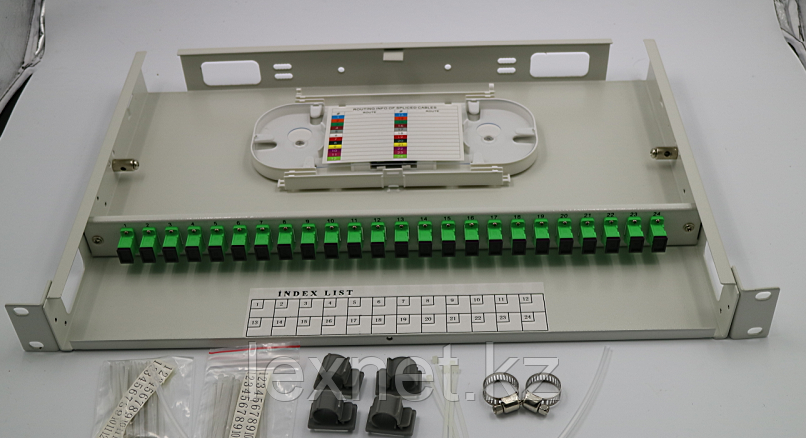 Кросс оптический OK-FDF-1U-24-FC/UPC SM 12 PORT  укомплектованный