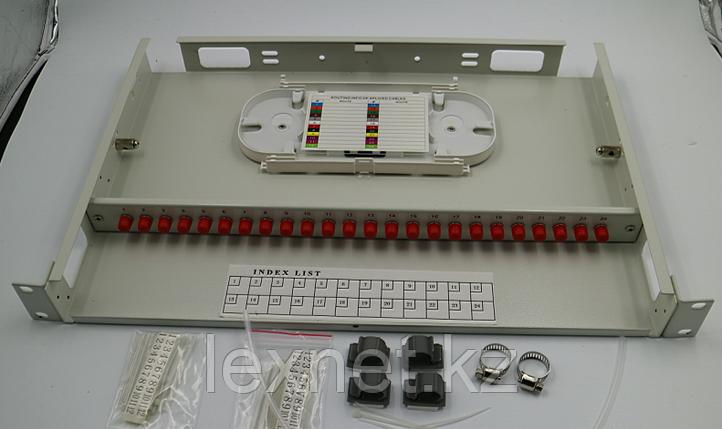 Кросс оптический OK-FDF-1U-24-LC LC/UPC SM 4 PORT  укомплектованный, фото 2