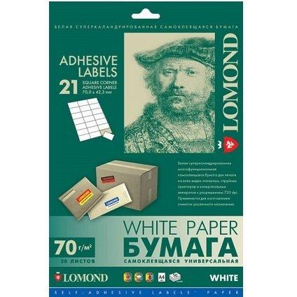 Самоклеющаяся бумага Lomond A4 50л 21-дел.белая,70*42,3мм(унив.печать) L2100145 SelfAdhesiv (27п.в кор)