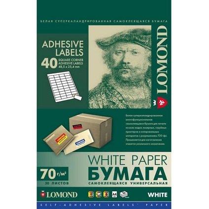 Самоклеющаяся бумага Lomond A4 50л 40-дел.белая,48.5*25.4 мм(унив.печать)70г\м2  L2100195