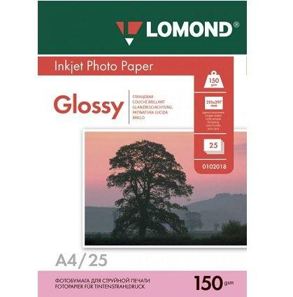 Фотобумага LOMOND A4/150грамм/25листов/глянцевая 1-сторон.(0102043)
