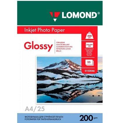 Фотобумага LOMOND A4/200грамм/25листов/глянцевая 1-сторон.(0102046)