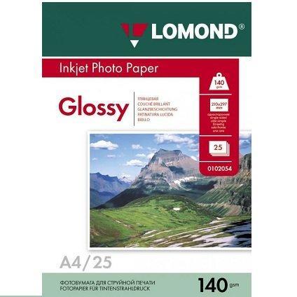 Фотобумага LOMOND A4/140грамм/25листов/глянцевая 1-сторон.(0102076)