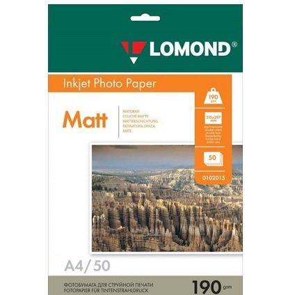 Матовая двухсторонняя фотобумага LOMOND А4/50/190г  (102015)